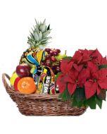 Fruktkurv 5kg med Julestjerne og Twist Hjerteform Ferrero Rochet, Nettbutikk bryllup, alt til bryllupet,  fruktkurv som gaver, bestille fruktkurv gave, fruktkurv gave, gavekurv frubordpynt bryllup, bryllup dekorasjon til leie,bryllup, bryllupspynt, bordd
