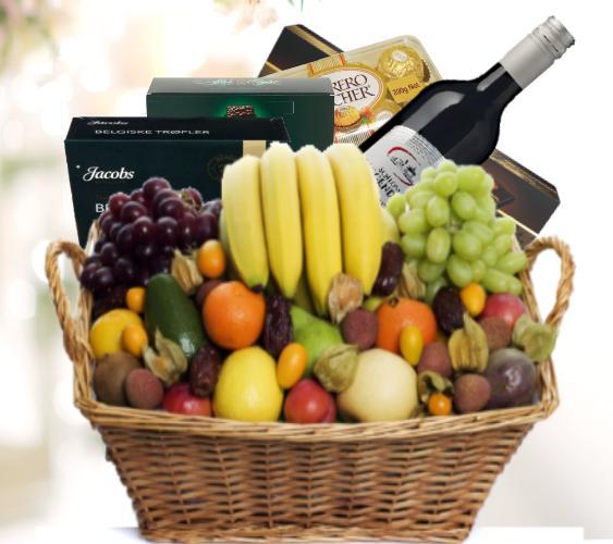 Fruktkurv 10kg med sjokolade og vin
