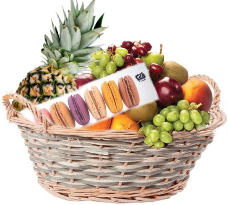 fruktkurv som gaver levert på døra