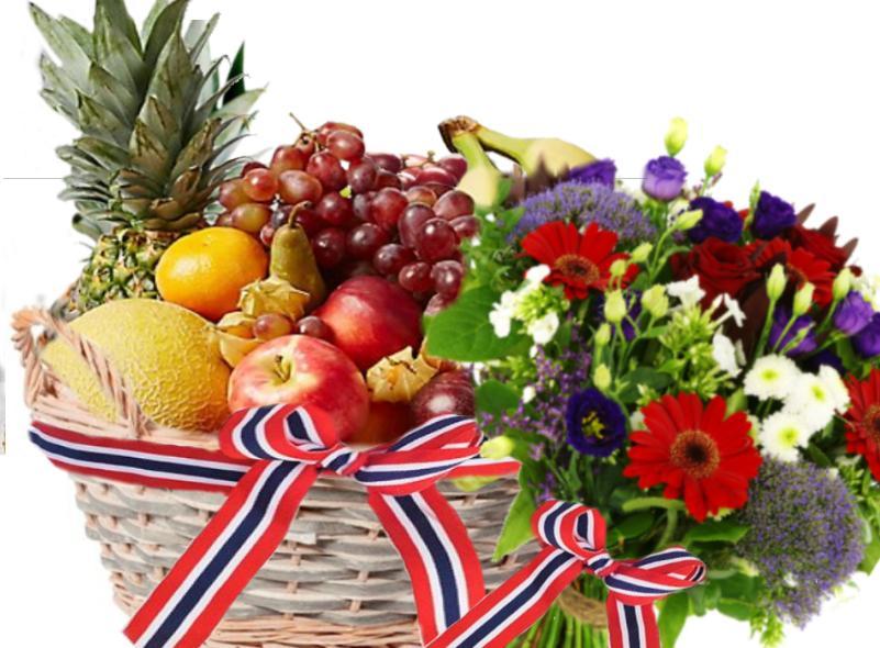 fruktkurv med bukett