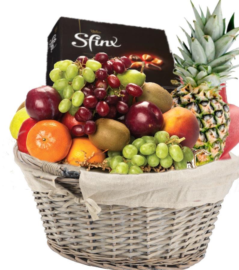 Fruktkurv 5kg med Konfekt som gaver