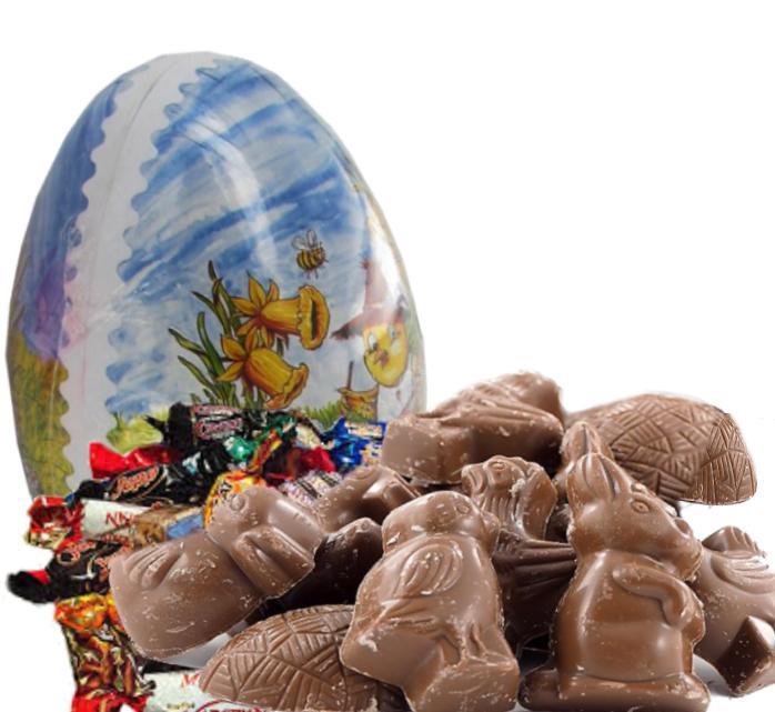 Påskeegg 18cm Med Sjokolade og Twist Ca. 400g