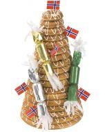 Kransekake 18 ringer Hjerteform Ferrero Rochet, Nettbutikk bryllup, alt til bryllupet,  fruktkurv som gaver, bestille fruktkurv gave, fruktkurv gave, gavekurv frubordpynt bryllup, bryllup dekorasjon til leie,bryllup, bryllupspynt, borddekorasjon bryllup,