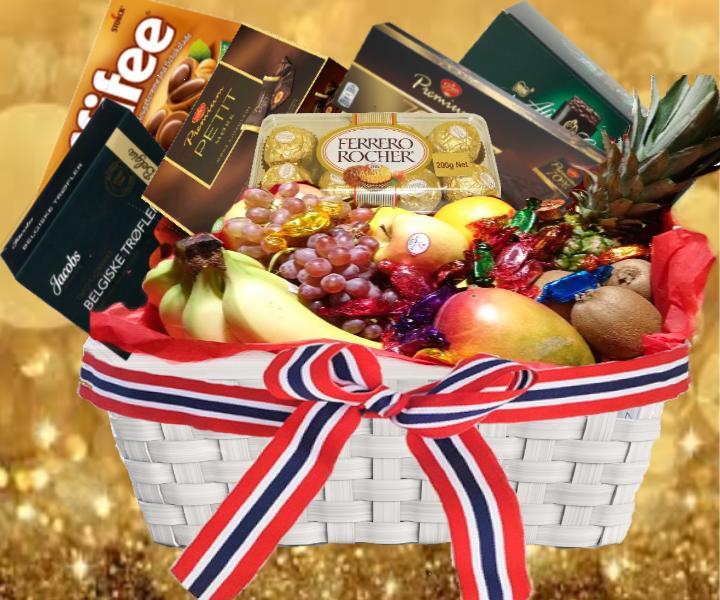 fruktkurv som gaver rett på døra