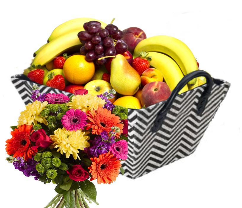 Fruktkurv 3kg med Blomsterbukett