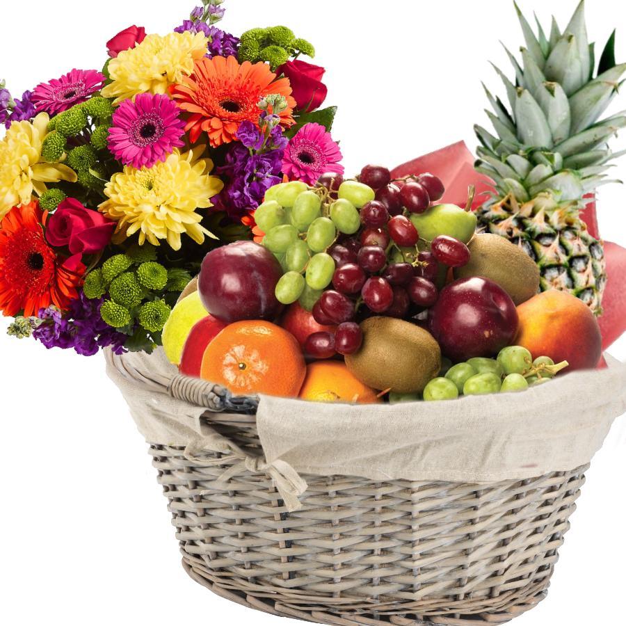 Fruktkurv 5kg med Blomsterbukett