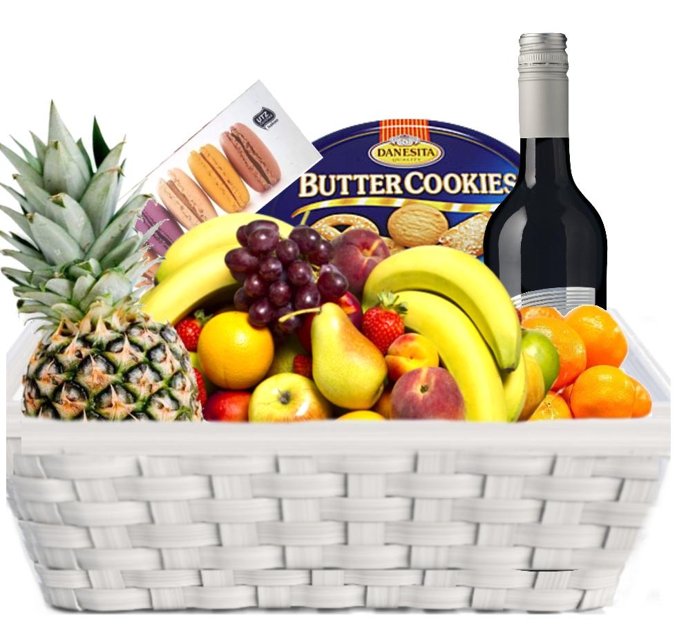 Fruktkurv 5kg med vin og Makroner
