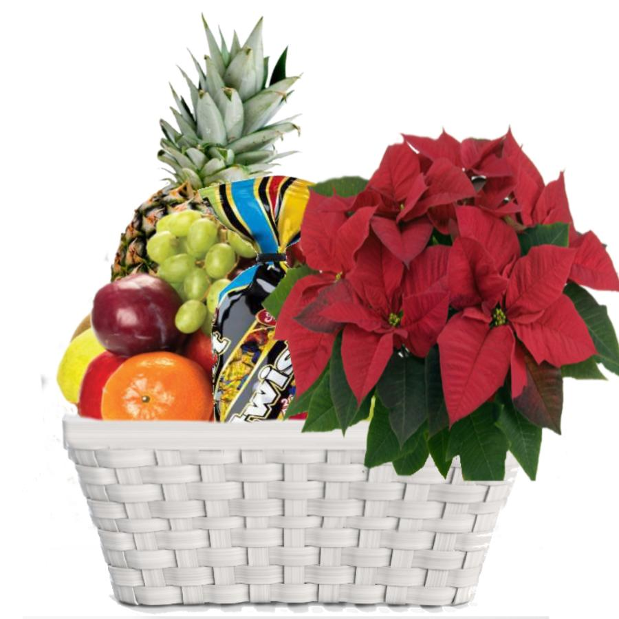 fruktkurv med konfekt julegaver
